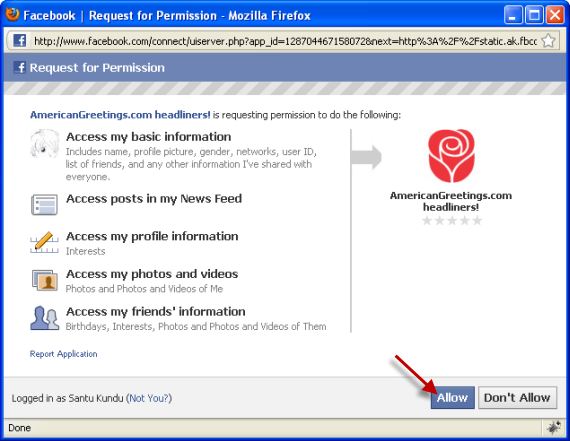 Allow AmericanGreetings To Access Your Facebook Profile