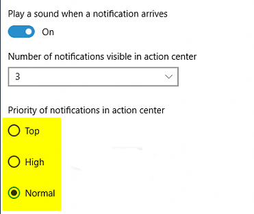 Change priority of notifications in action center in windows 10
