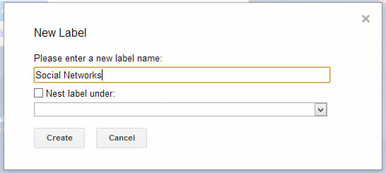 Create a new label in Gmail for filtering.