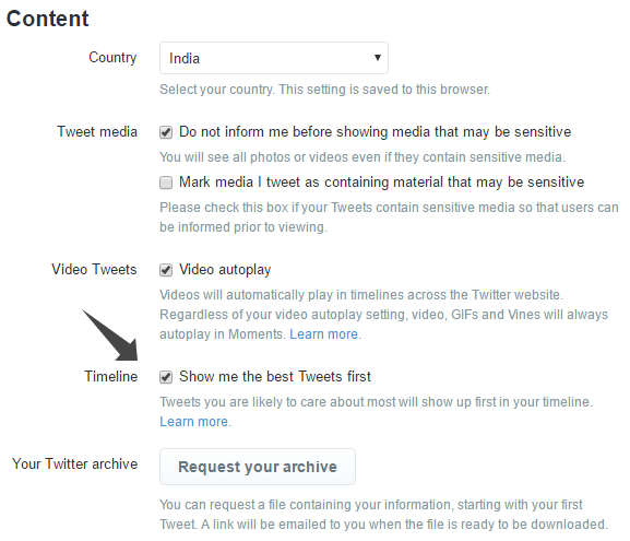 Disable show me best tweets first on Twitter