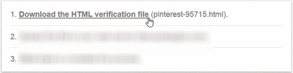 Download the HTML verification file from Pinterest.