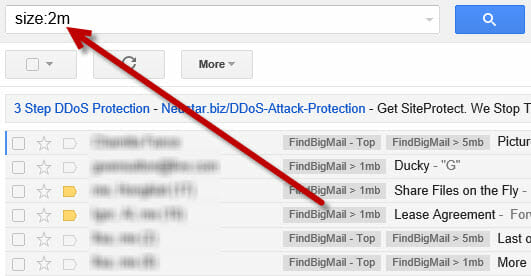 Find Big Emails - Search by size in Gmail.