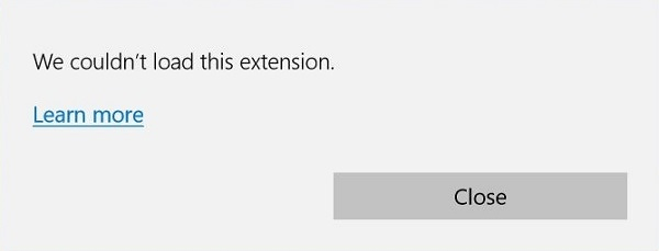 Fix we could not load this extension in Edge for Windows 10