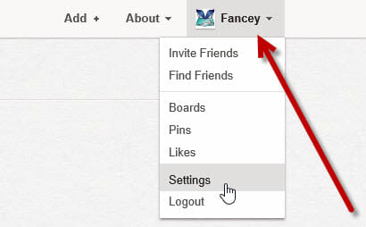 Go to Settings on Pinterest.