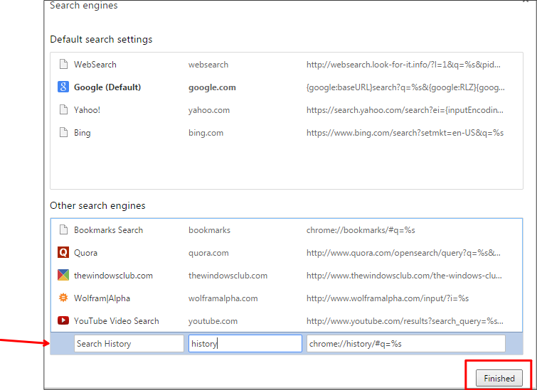how to delete search engine history in chrome