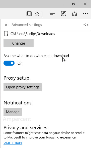 Notifications Settings of Edge in Windows 10