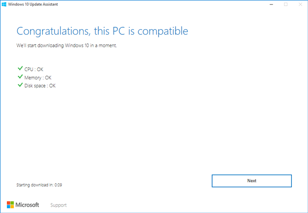 PC Compatibility using Windows Update Assistant