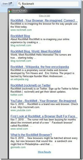 Instant Search In Rockmelt