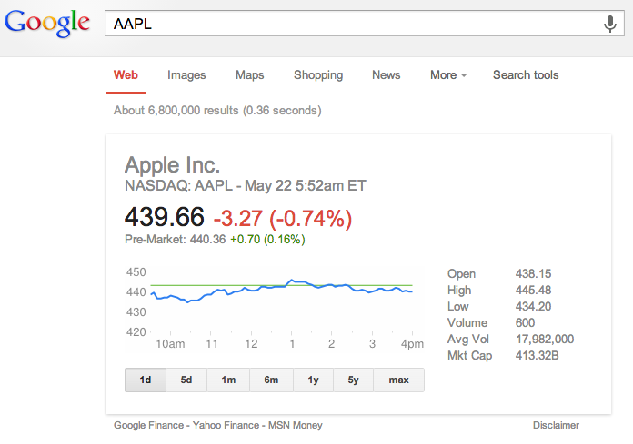 Stock Update - Google Search