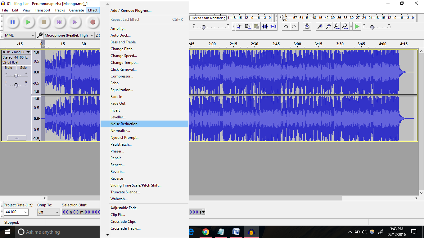 remove noise from audio