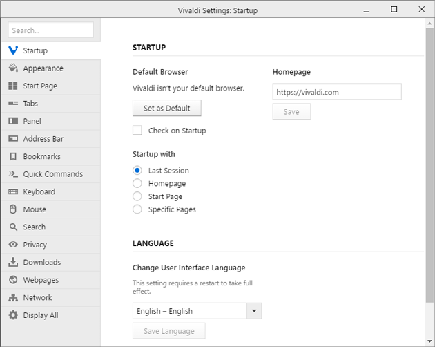 Select startup page in Vivaldi
