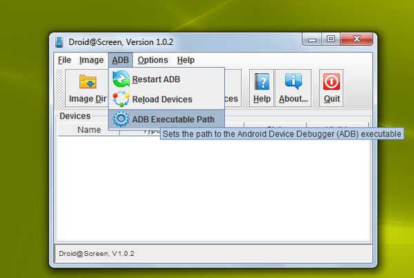 Set Executable path - Show Android screen on PC
