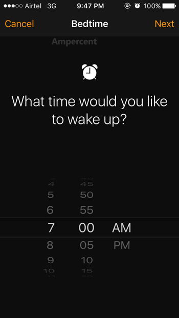 Set Wake Up time in iOS bedtime