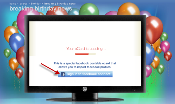 Sign In To Facebook Connect To Enjoy Birthday Video Card