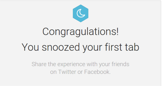 Success Tab snooze Mesage