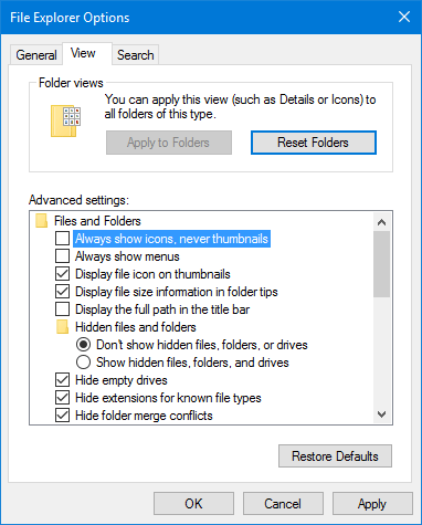 Thumbnail viewer settings on Windows 10