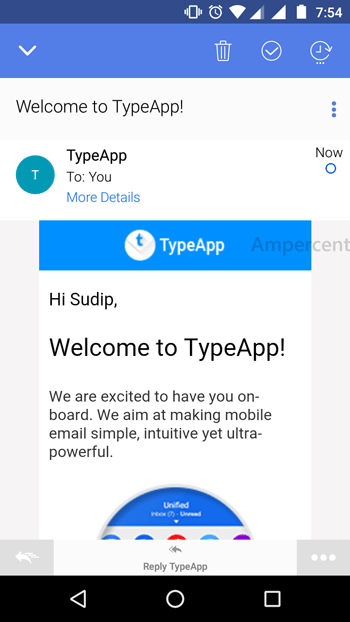 TypeApp Email single email option