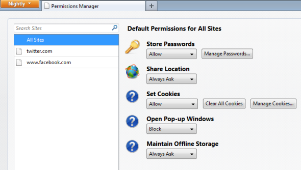 About permissions page in Firefox