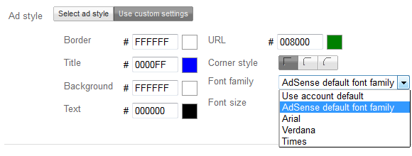 adsense-font-family-selection
