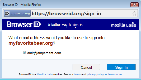 Firefox Browser ID sign in page