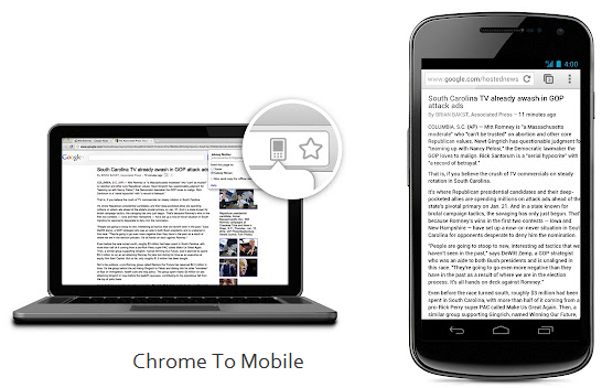 Send URLS and links from Google Chrome to Android