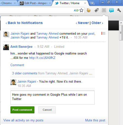 Comment on Google plus posts without opening Google Plus