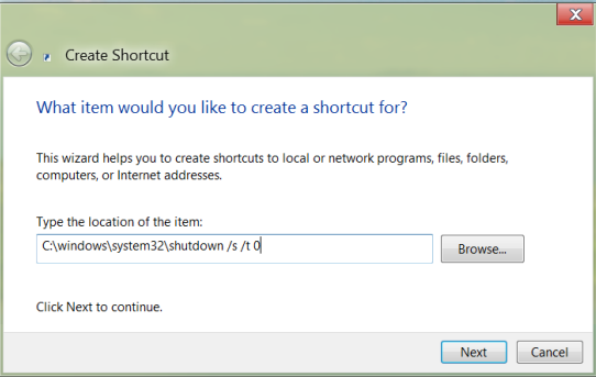 Create Shutdown shortcut in Windows 8