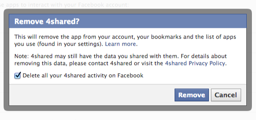 Delete App activity from Facebook account