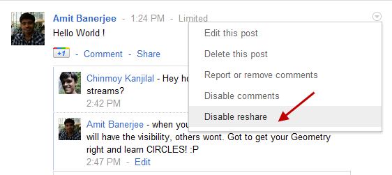 Disable Resharing of Posts in Google P