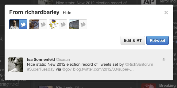 Classic retweet button in TweetDeck