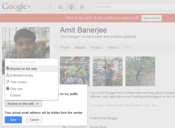 Choose the visibility of email option in Google Plus