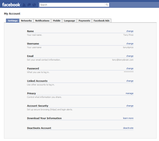 Facebook Account Settings Page