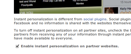 Disable Button For Facebook Instant Personalization