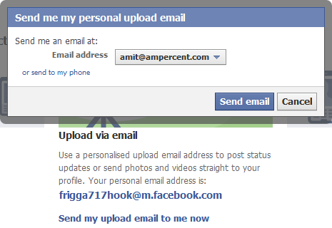 Facebook upload email address