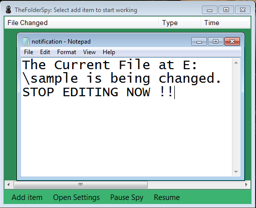 Notification of file changes