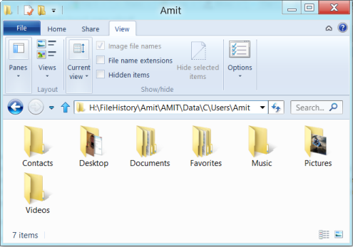 File history in Windows 8 - default library backup