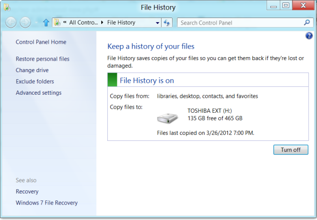 What is File history in Windows 8