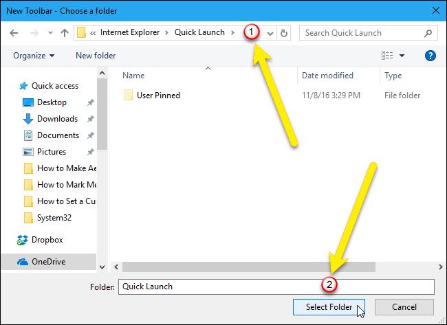 get quick launch bar on windows 8