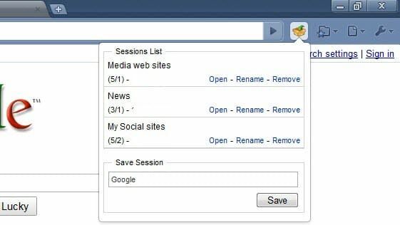 Google Chrome Session Manager