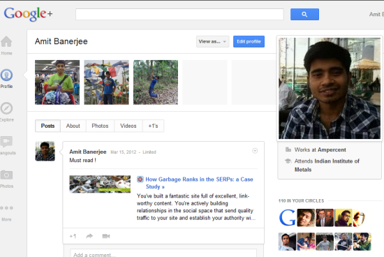 google plus profile photo rows