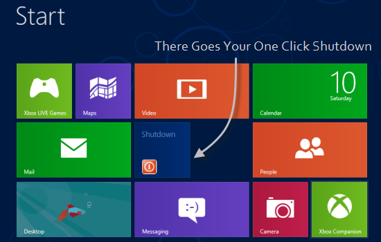 Shutdown tile in Windows 8