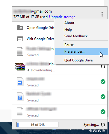 open Google drive preference
