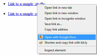 Open Zip and RAR files in Google Docs