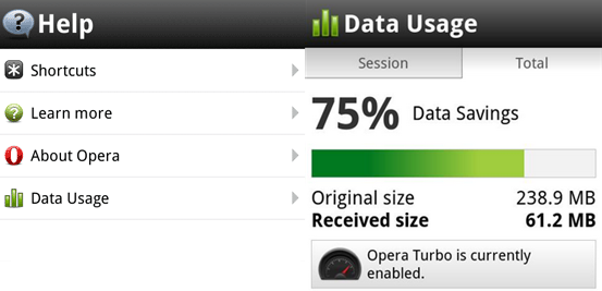 Check internet data usage using Opera Mobile
