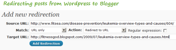 301 redirect posts fromwordpress to blogger
