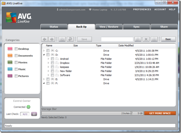 backup and sync files using AVG liveKive
