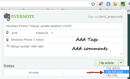 Save a complete webpage to evernote account