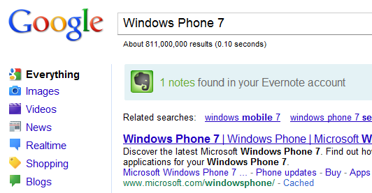 Search Evernote notes from Google