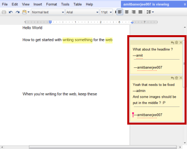 Adding comments in Google Docs
