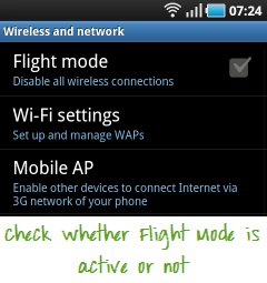 Disable Flight mode in Android